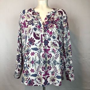 Old Navy Floral Half Button Long Sleeve Top XL